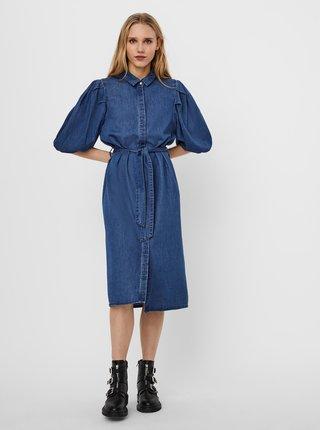 Modré riflľové košeľové šaty VERO MODA Nala