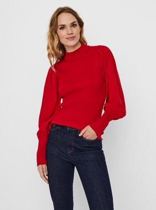Červený rebrovaný svetr VERO MODA Willow