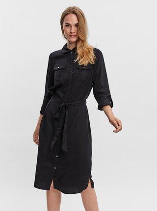 Čierne košeľové šaty VERO MODA Sally