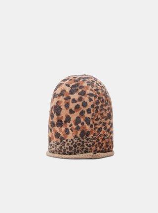 Hnědá dámská čepice s leopardím vzorem Desigual Animal Patch Gorro