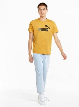 Žlté pánske tričko s potlačou Puma