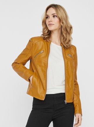 Horčicová koženková bunda VERO MODA Dona