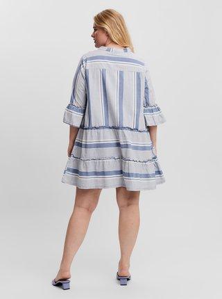Světle modré pruhované šaty VERO MODA CURVE Akela