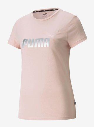 Svetloružové dámske tričko s potlačou Puma