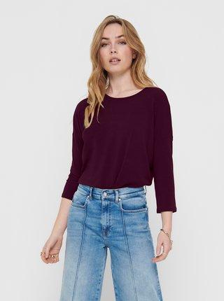 Vínový sveter s 3/4 rukávom ONLY Glamour