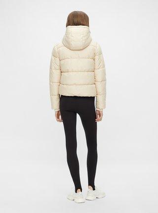 Béžová prošívaná bunda s kapucí Pieces Bee