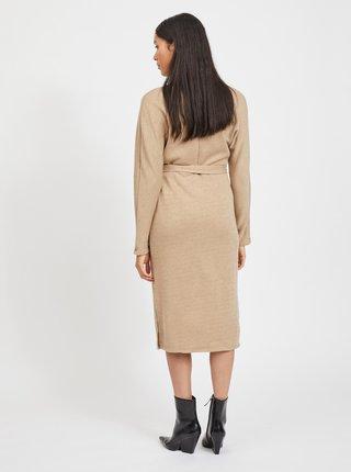 Béžové svetrové šaty se zavazováním VILA-Many
