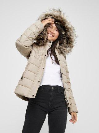 Béžová zimní prošívaná bunda ONLY Luna