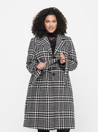 Bílo-černý kostkovaný kabát ONLY CARMAKOMA-Fandanga