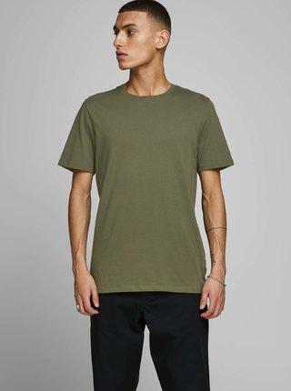 Khaki basic tričko Jack & Jones Organic