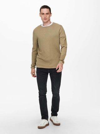Béžový basic sveter ONLY & SONS Panter