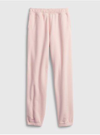 Růžové holčičí tepláky fleece cinch joggers