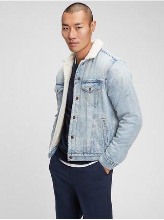 Modrá pánská džínová bunda sherpa denim icon jacket
