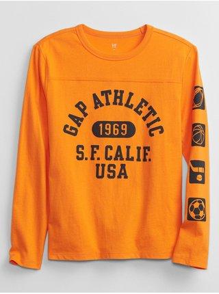 Oranžové klučičí tričko s nápisem GAP Logo