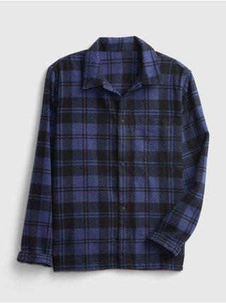 Modrá pánská košile snap front overshirt