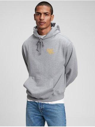 Šedá pánská mikina GAP Logo NYC pocket hoodie