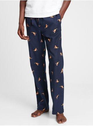 Modré pánské pyžamo vé flanelové kalhoty
