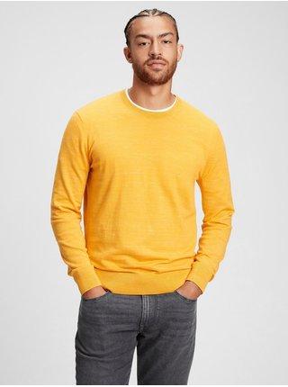 Žlutý pánský svetr GAP everyday crewneck sweater