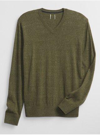 Zelený pánský svetr GAP v-neck sweater