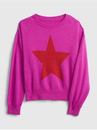 Růžový holčičí svetr GAP novelty soft brushed