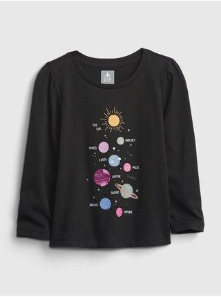 Černé holčičí tričko GAP long sleeve graphic t-shirt