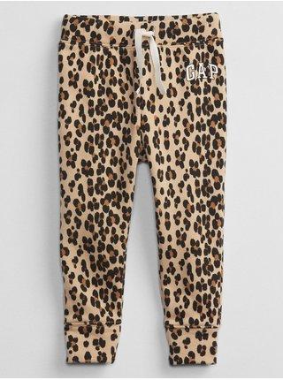 Hnědé holčičí tepláky leopard GAP Logo