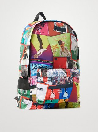 Červeno-zelený dámský vzorovaný batoh Desigual Disco Foldes Plegable