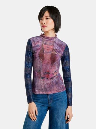 Modro-fialové dámské vzorované tričko Desigual Teen Dream