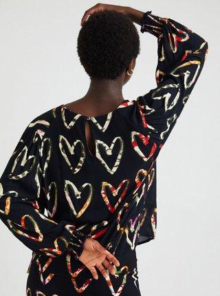 Černá dámská vzorovaná volná halenka Desigual Gerbera