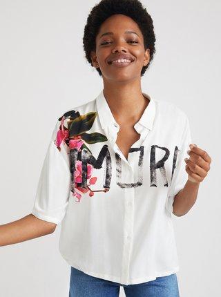 Bílá dámská volná košile s krátkým rukávem Desigual Amore