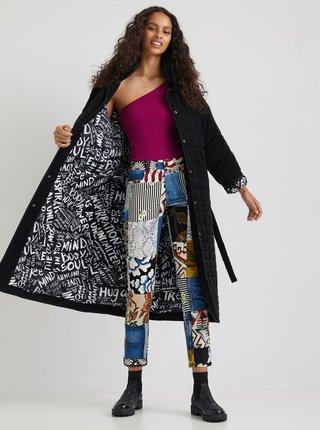 Černý dámský prošívaný zimní kabát se zavazováním Desigual Granollers