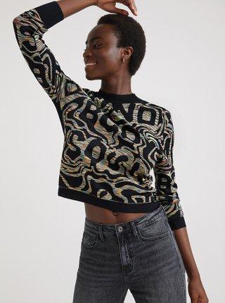 Čierny dámsky vzorovaný sveter Desigual Estrasburgo