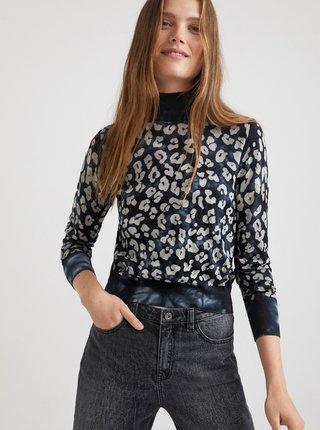 Tmavě modrý svetr s leopardím vzorem Desigual Darrell