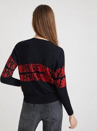 Čierny dámsky sveter s nápismi Desigual Amore Amore