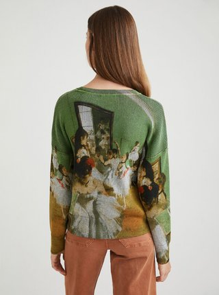 Zelený dámsky sveter s motívom Desigual Degas