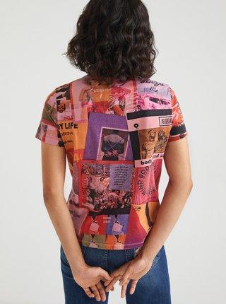 Růžové dámské vzorované tričko Desigual Proclaim