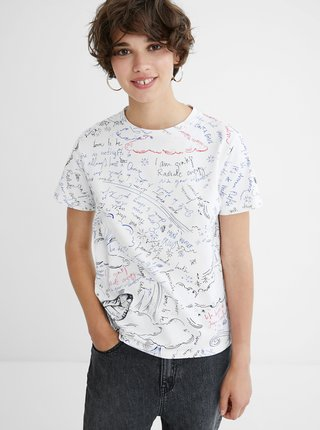 Biele dámske tričko s nápismi Desigual Elizabeth Fry
