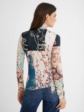Modro-béžové vzorované dámské tričko Desigual Kyoto