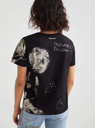 Černé dámské vzorované tričko Desigual Mickey