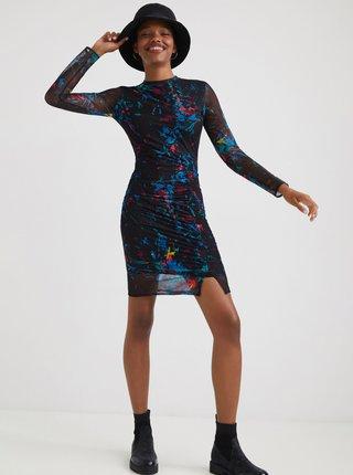 Čierne vzorované púzdrové šaty Desigual Kameron