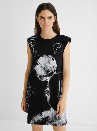 Čierne vzorované šaty Desigual Oh My Mickey