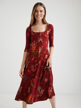 Červené květované midišaty Desigual Flowers Qais