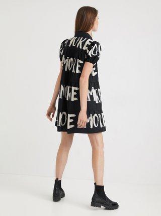 Čierne košeľové šaty s nápismi Desigual Brixton