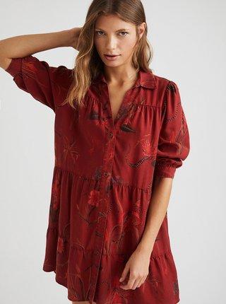 Červené vzorované košilové šaty Desigual Sevilla