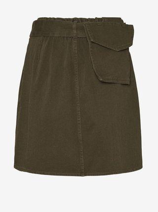 Kaki sukňa so zaväzovaním Noisy May Asta