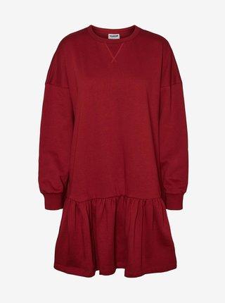 Červené voľné mikinové šaty Noisy May Lino
