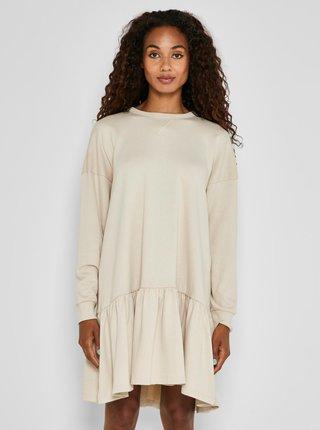 Krémové voľné mikinové šaty Noisy May Lino