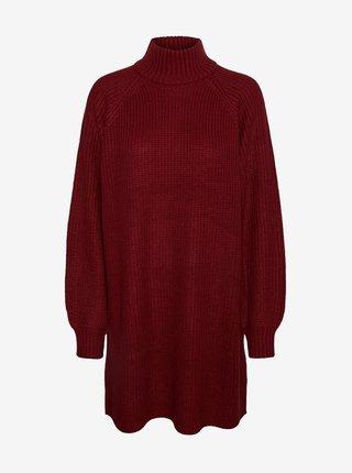 Vínové svetrové šaty Noisy May Timmy