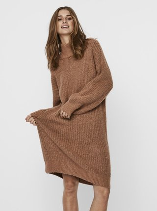 Hnědé svetrové šaty Noisy May Robina