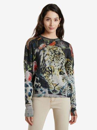 Šedý dámsky vzorovaný sveter Desigual Renji